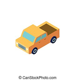 yellow truck on white background