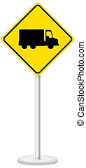 Yellow truck sign isolated on white background