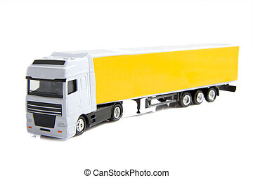 Yellow truck with trailer isolated over white