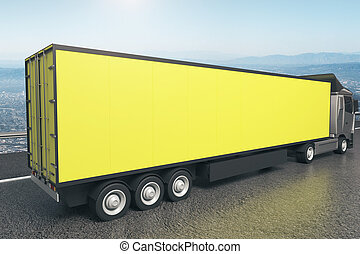 Yellow truck trailer closeup