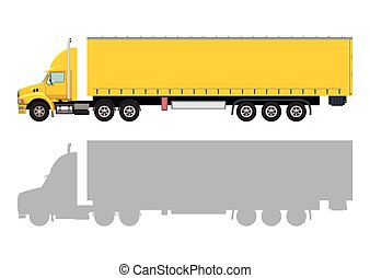 Yellow truck with a trailer