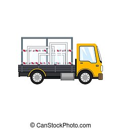 Yellow Truck with Glass on White Background