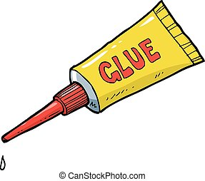 Yellow tube glue - Cartoon doodle yellow tube of glue vector...
