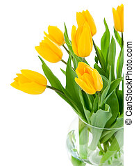 yellow tulip flowers in glass vase