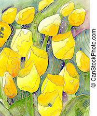 Yellow tulips and starry skies abstract watercolor painting ...
