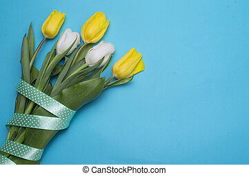 Yellow tulips with yellow ribbon on blue