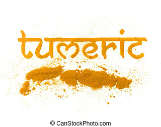 isolated tumeric curry spice written in letters
