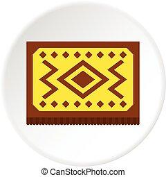 Yellow Turkish carpet icon circle