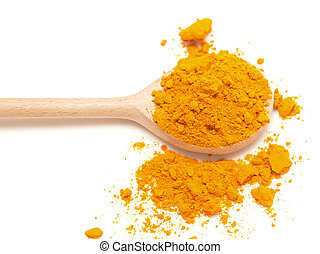 yellow turmeric in wooden spoon on white background