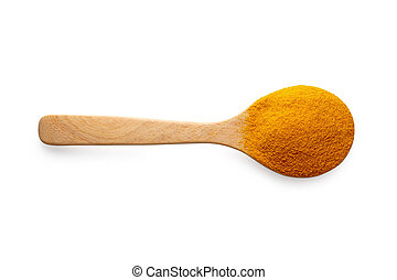 Yellow turmeric powder in a wooden spoon isolated on white background