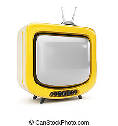 Yellow TV isolated on white background. 3d render