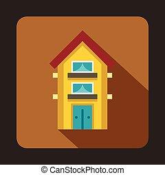 Yellow two storey house icon, flat style