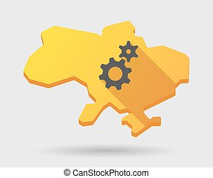 Yellow Ukraine map icon with gears