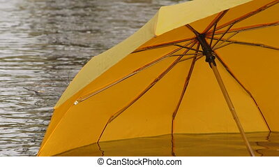 Yellow umbrella floating on water surface in autumn