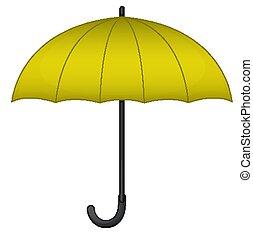 Yellow umbrella on white background