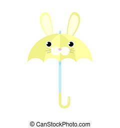 Yellow umbrella with rabbit animal face vector illustration