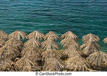 umbrellas at the ocean