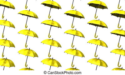 Yellow Umbrellas On White Background. Loop able 3DCG render...