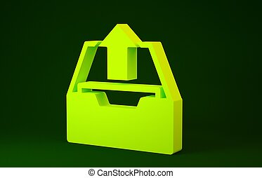 Yellow Upload inbox icon isolated on green background. Extract files from archive. Minimalism concept. 3d illustration 3D render