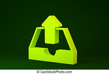 Yellow Upload inbox icon isolated on green background. Minimalism concept. 3d illustration 3D render