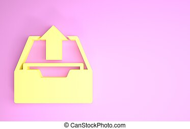 Yellow Upload inbox icon isolated on pink background. Extract files from archive. Minimalism concept. 3d illustration 3D render