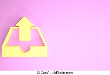 Yellow Upload inbox icon isolated on pink background. Minimalism concept. 3d illustration 3D render