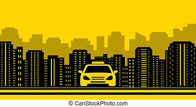taxi background with city landscaping