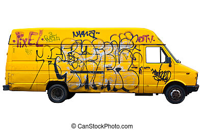 Yellow van isolated on white background