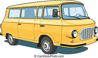 Vector isolated yellow van passenger and cargo on white background.