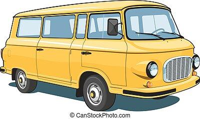 Yellow van - Vector isolated yellow van passenger and cargo...