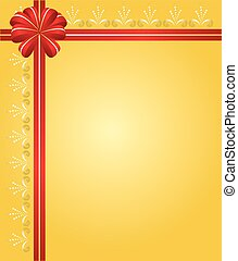 yellow vector card with red ribbon