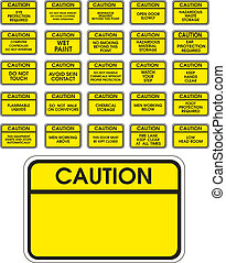Yellow vector caution signs