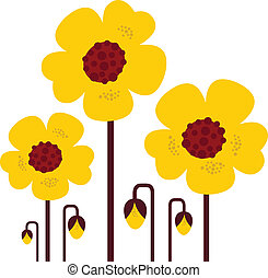 Yellow vector flowers collection isolated on white - retro