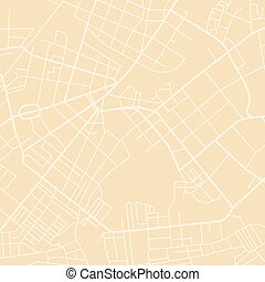 yellow vector map - Editable vector street map of town....