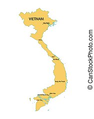 yellow vector map of Vietnam with indication of largest cities