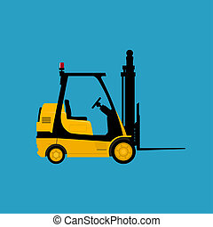 Yellow Vehicle Forklift Isolated