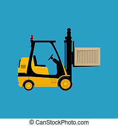 Yellow Vehicle Forklift Picks up a Box Isolated