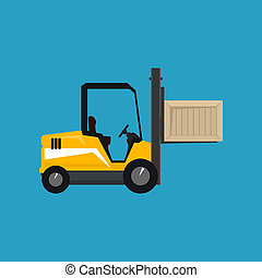 Yellow Vehicle Forklift Picks up a Box