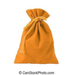 Yellow velvet bag isolated on white background.