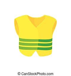 Yellow vest icon, cartoon style