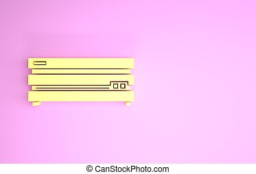 Yellow Video game console icon isolated on pink background. Minimalism concept. 3d illustration 3D render
