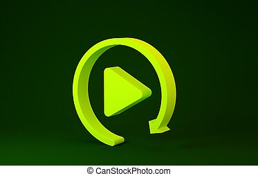 Yellow Video play button like simple replay icon isolated on green background. Minimalism concept. 3d illustration 3D render