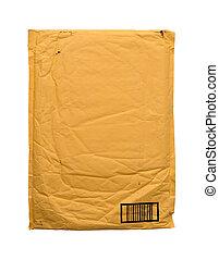 Yellow vintage envelope isolated on white