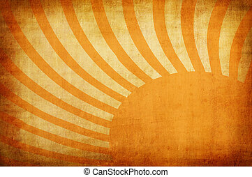 yellow vintage grunge background with sun rays for multiple ...