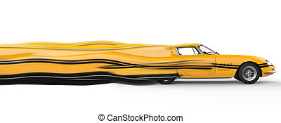 Yellow vintage race car with black stripes decals - solid speed trails