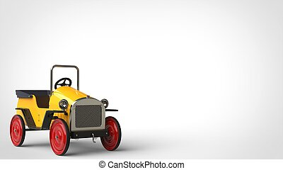 Yellow vintage toy car with red wheels - restored