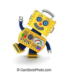 Yellow vintage toy robot goofing around - Cute yellow...
