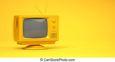 Yellow vintage tv set on yellow background.