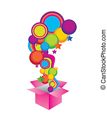 surprise box - yellow, violet, blue, green and pink surprise...