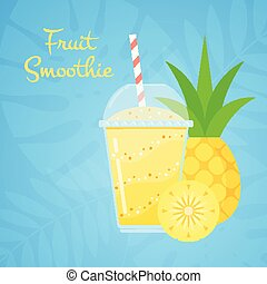 Yellow vitamin natural pineapple smoothie banner